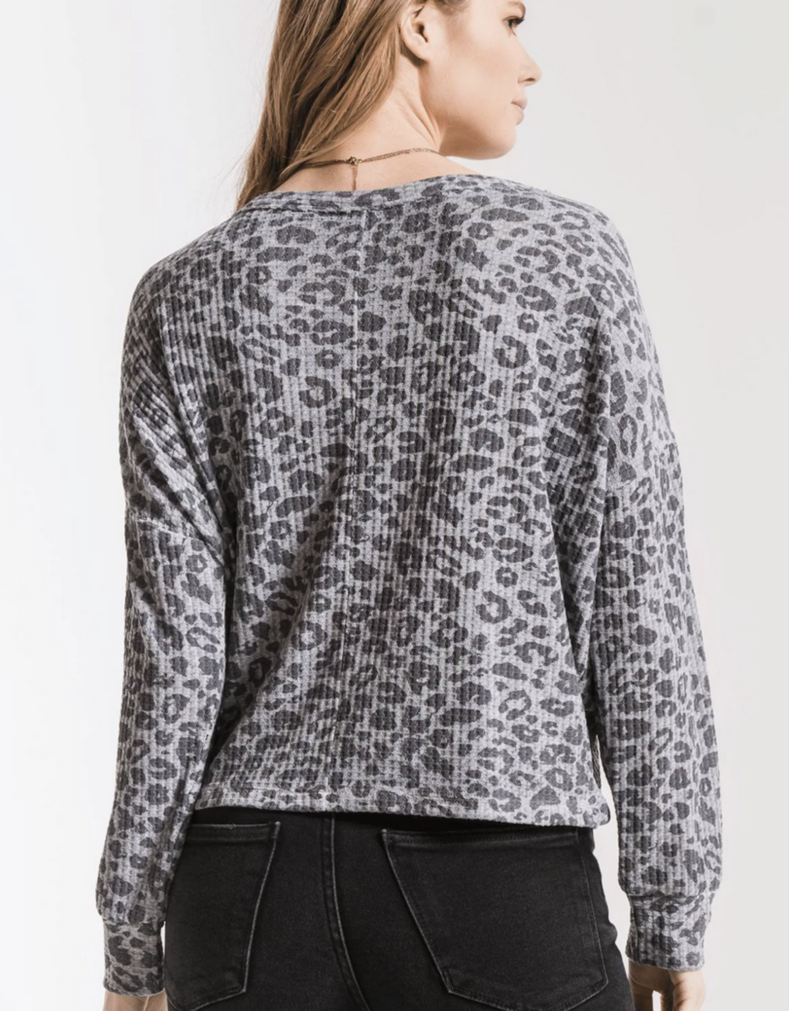 Z Supply The Leopard Tie-Front Waffle Thermal Top