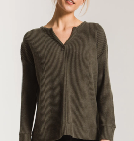 Z Supply Waffle Thermal Split Neck Top