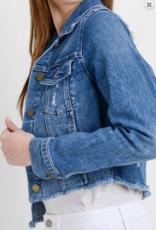 Just USA Frayed Cropped Denim Jacket
