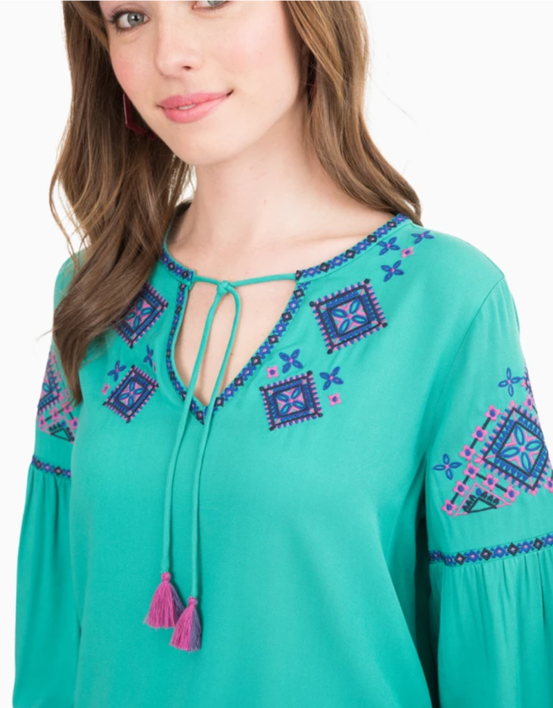 Southern Tide Long Sleeve Sienna Embroidered Top