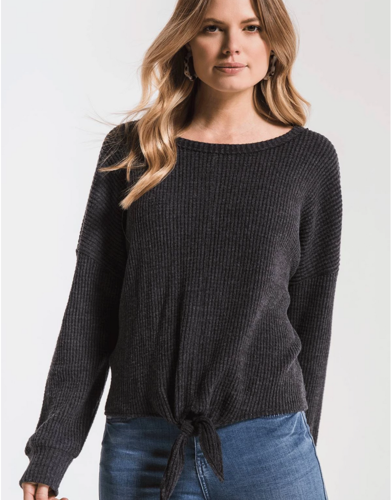 Z Supply Tie Front Waffle Thermal Top