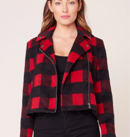 Jack by BB Dakota Bell Behaved Plaid Moto Jacket