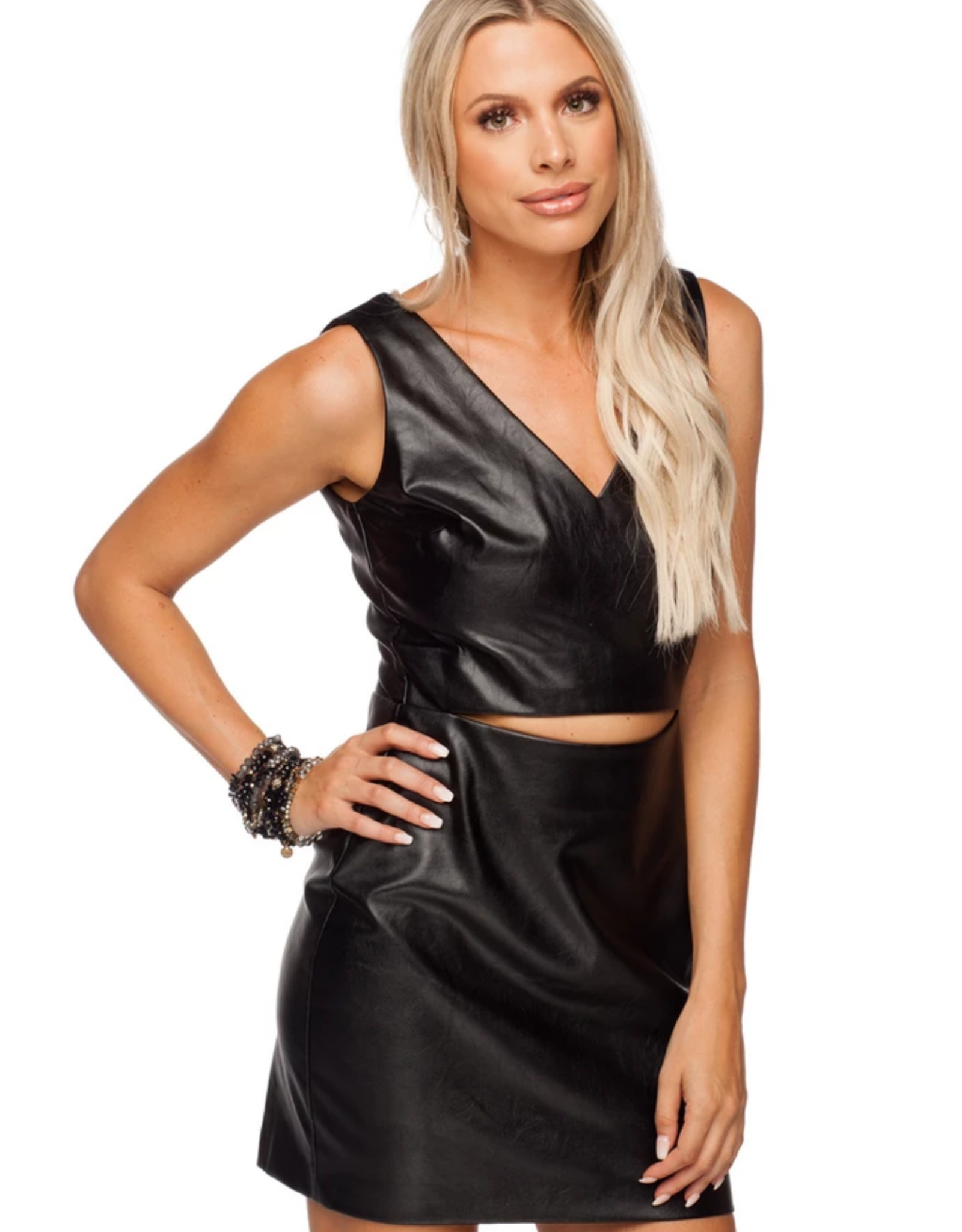 Buddy Love Christina Cut Out Faux Leather Dress