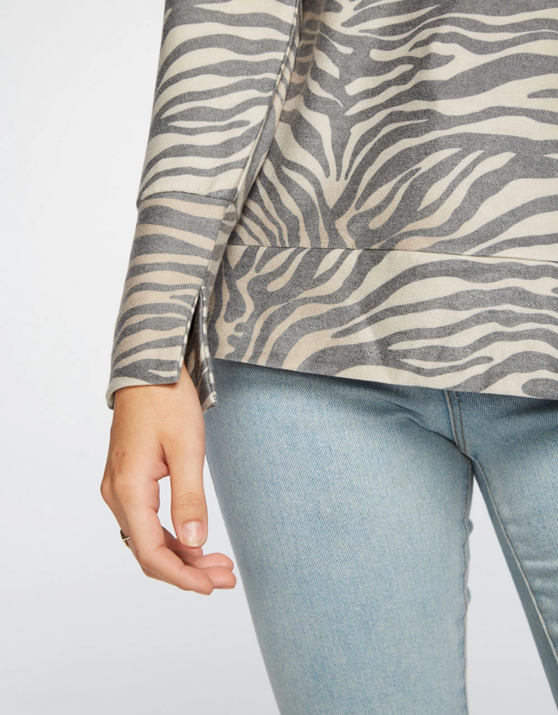Chaser Zebra Print Cozy Long Sleeve Top