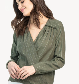 Lilla P Long Sleeve Crossfront Blouse