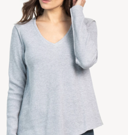 Lilla P Asymmetrical Hem V-Neck Top