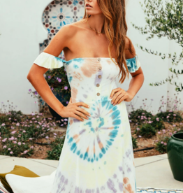 Chaser Off Shoulder Tie Dye Midi Dress