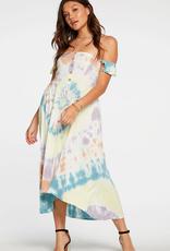 Chaser Off Shoulder Tie Dye Midi Dress