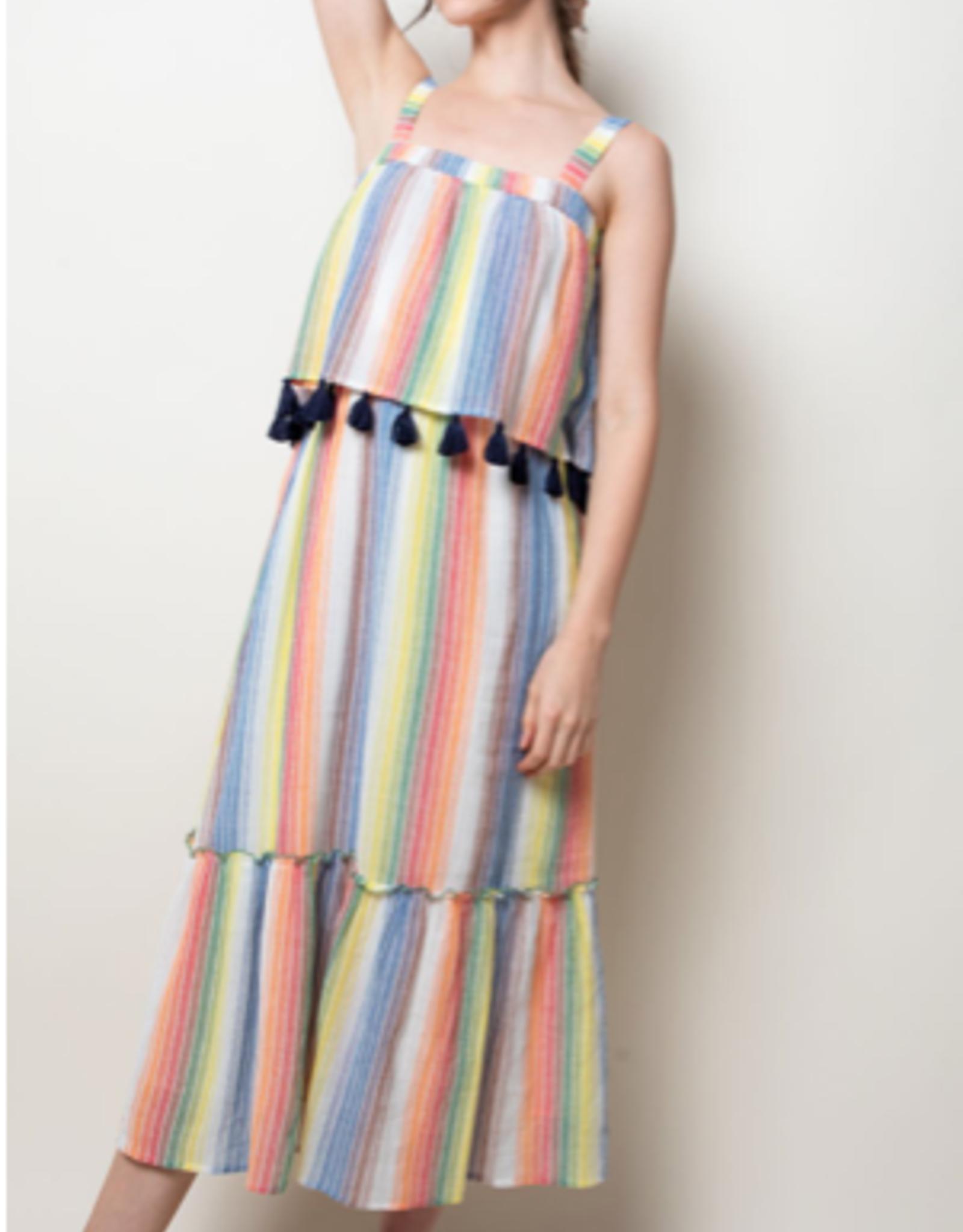 Stripe Strap Flutter Dress with Tassels