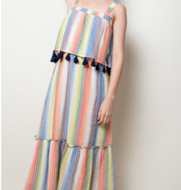 Stripe Strap Flutter Dress with Tassels