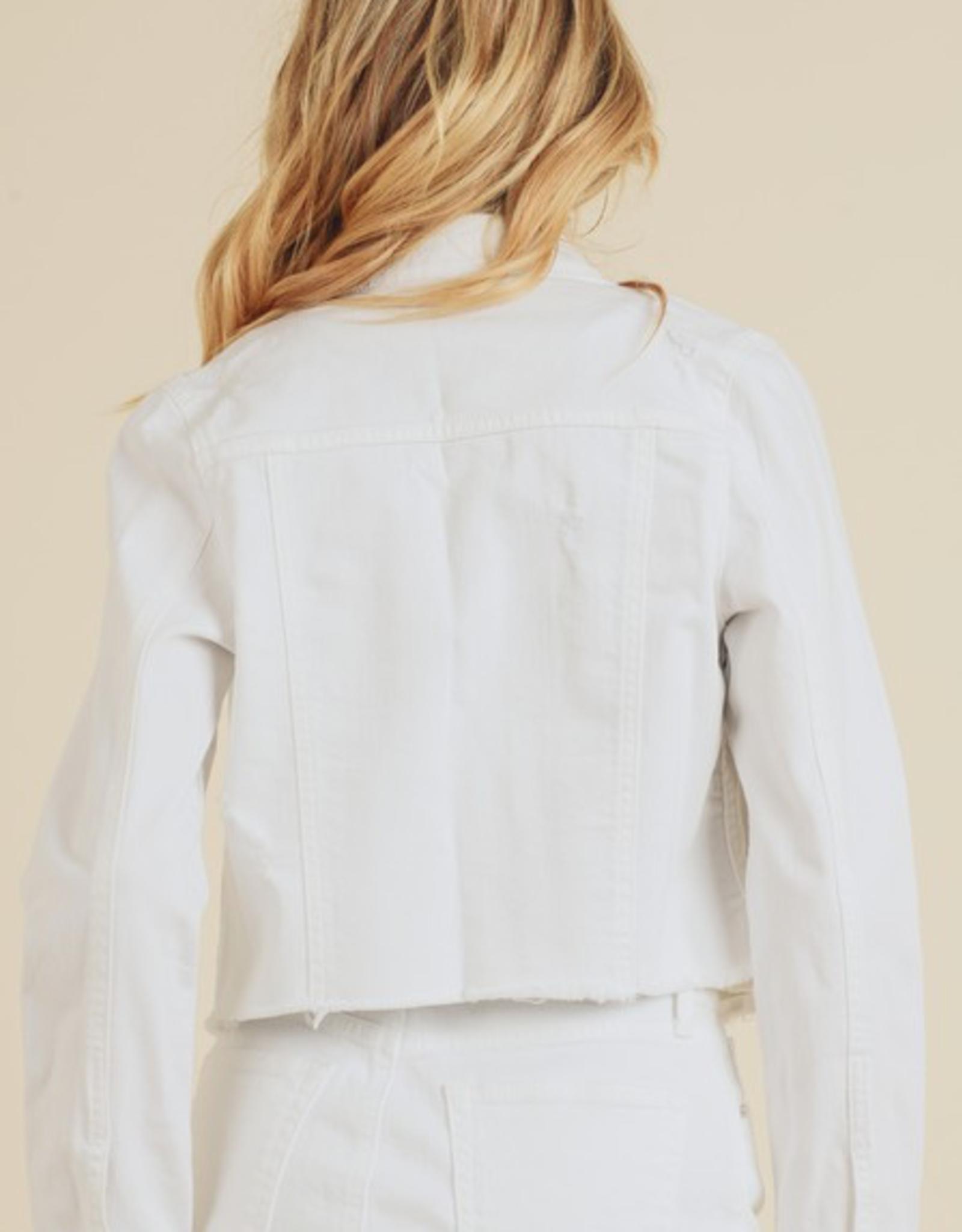Frayed Cropped Denim Jacket