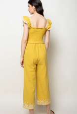 Smocked Ruffle Sleeve Jumpsuit