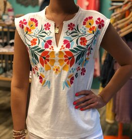 V-Neck Top With Embroidery