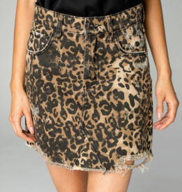 Buddy Love Sharon Leopard Denim Skirt