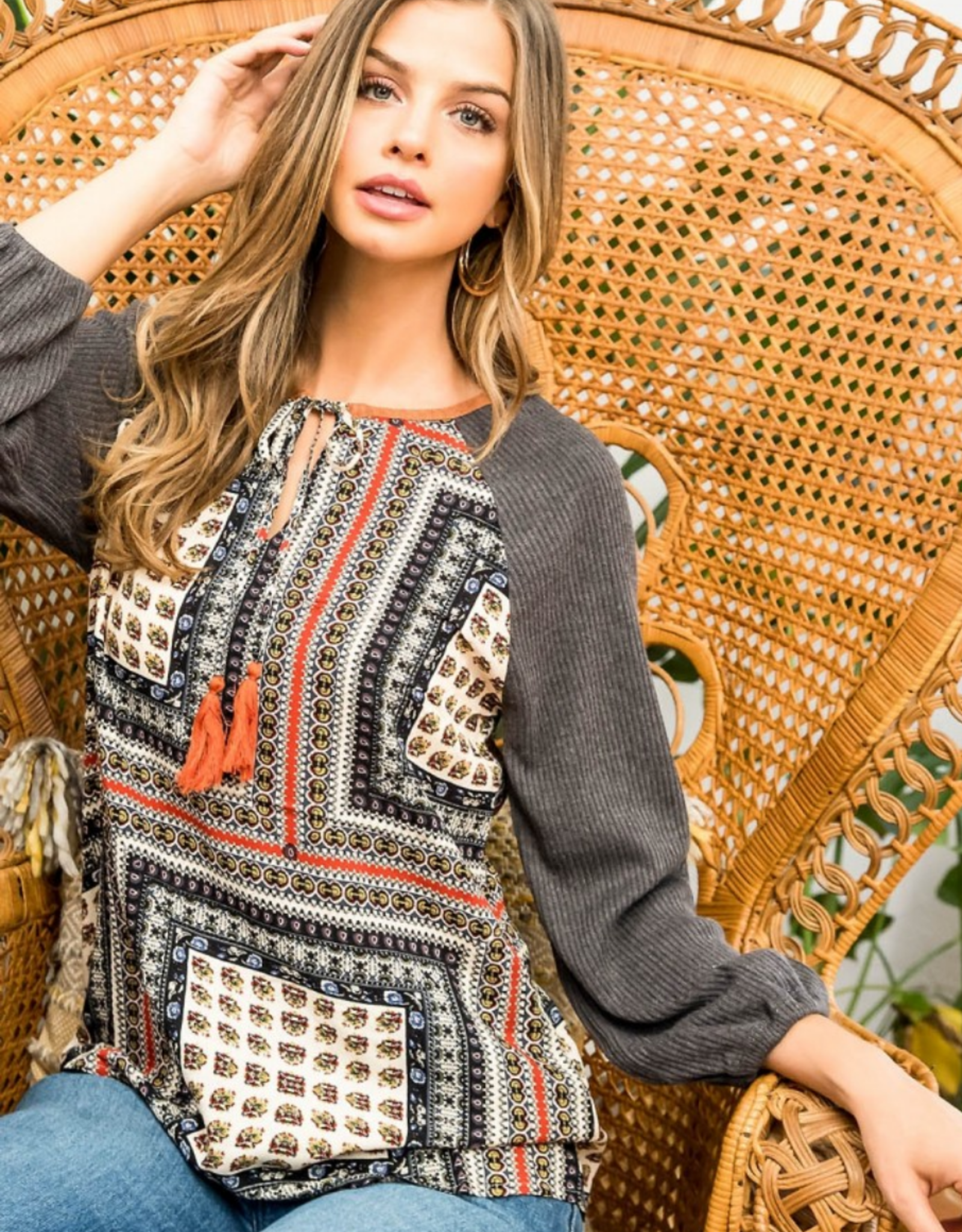 Rib Knit Long Sleeve Top with Scarf Print