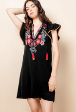 Embroidered Flutter Sleeve Dress with Tassels