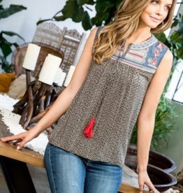 Printed Tank with Embroidered Yoke