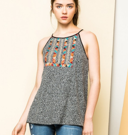 Rib Knit Tank with Embroidery
