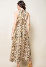 Halter Snake Print Maxi Dress