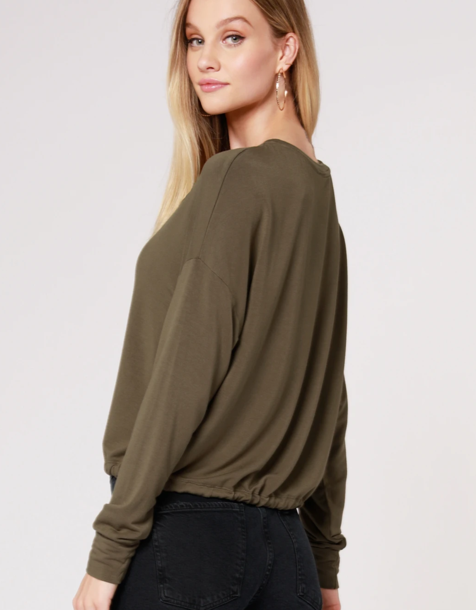 Bobi Drop Sleeve Tie Hem Top