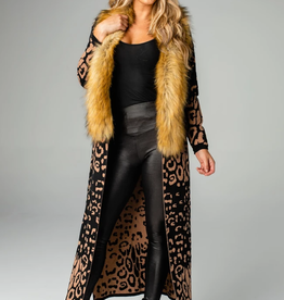 Buddy Love Valerie Leopard Long Cardigan with Fur