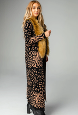 Buddy Love Valerie Leopard Long Cardigan with Fur