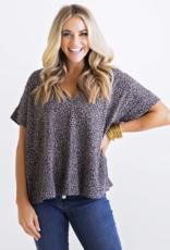Karlie Leopard Knit V Neck Top