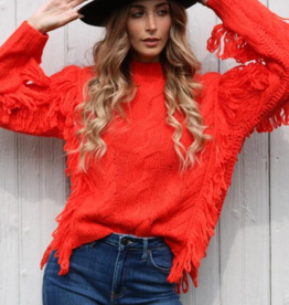 525 Cable Knit Fringe Sweater