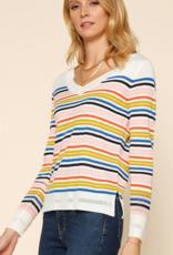 Rainbow Stripe V Neck Sweater