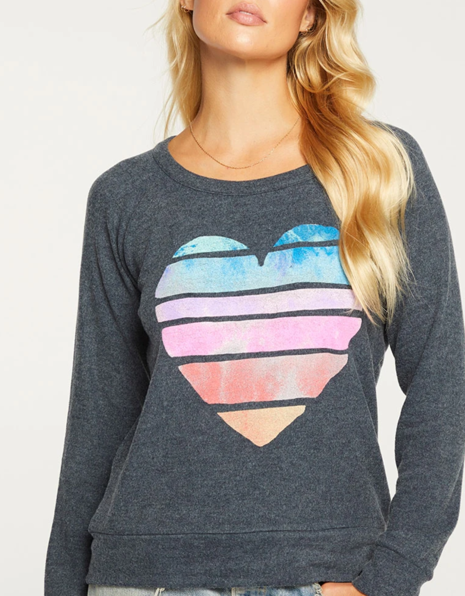 Chaser Painted Heart Long Sleeve Pullover
