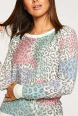 Chaser Painted Leopard Long Sleeve Pullover