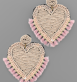 Beaded Heart & Mini Tassel Earrings