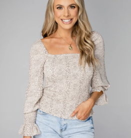 Buddy Love Cassie Smocked Long Sleeve Top