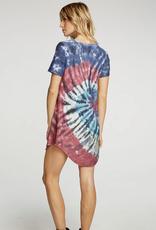 Chaser Cozy Knit Hi Low Tie Dye Dress