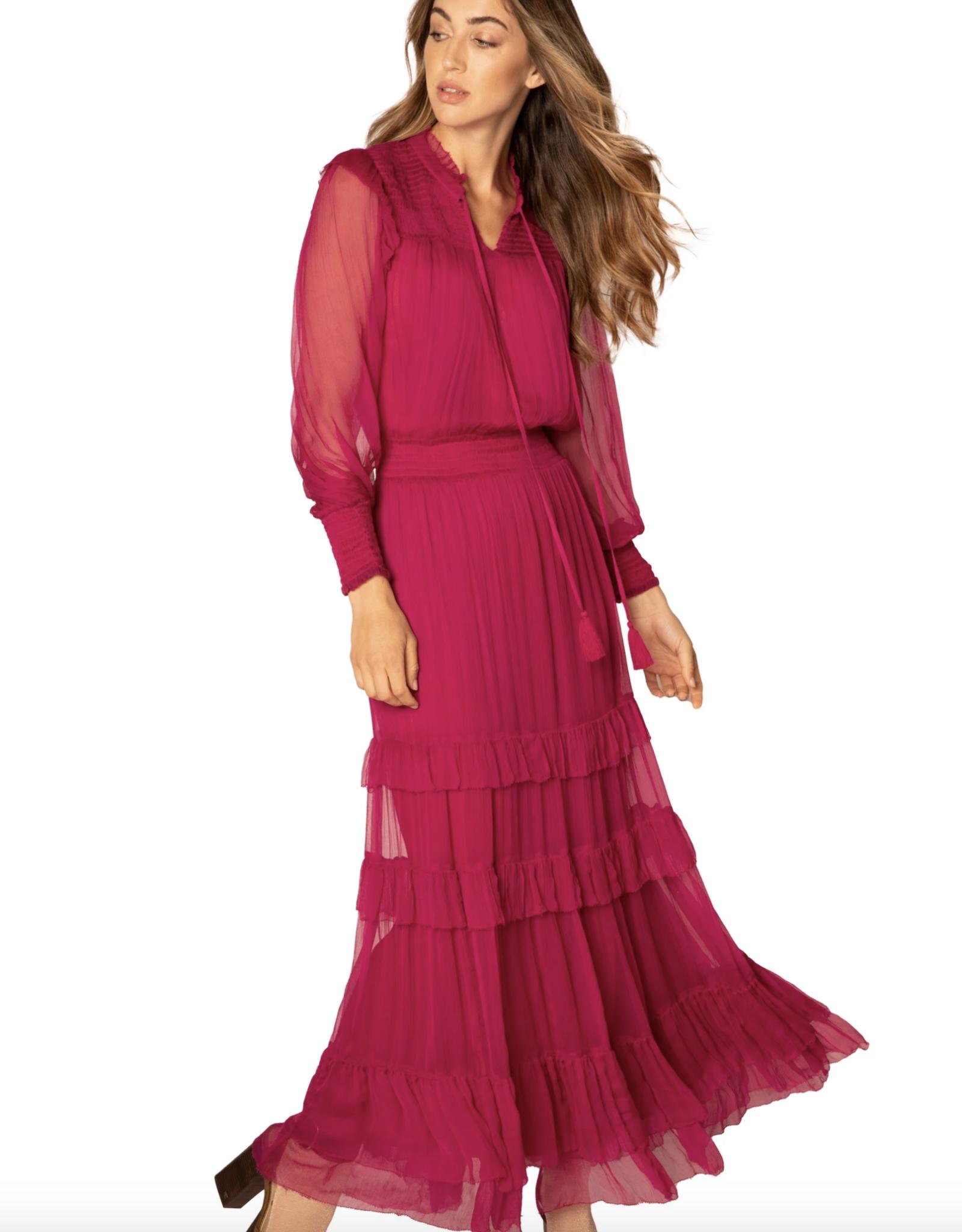 Allison Smocked Long Sleeve Ruffle Dress