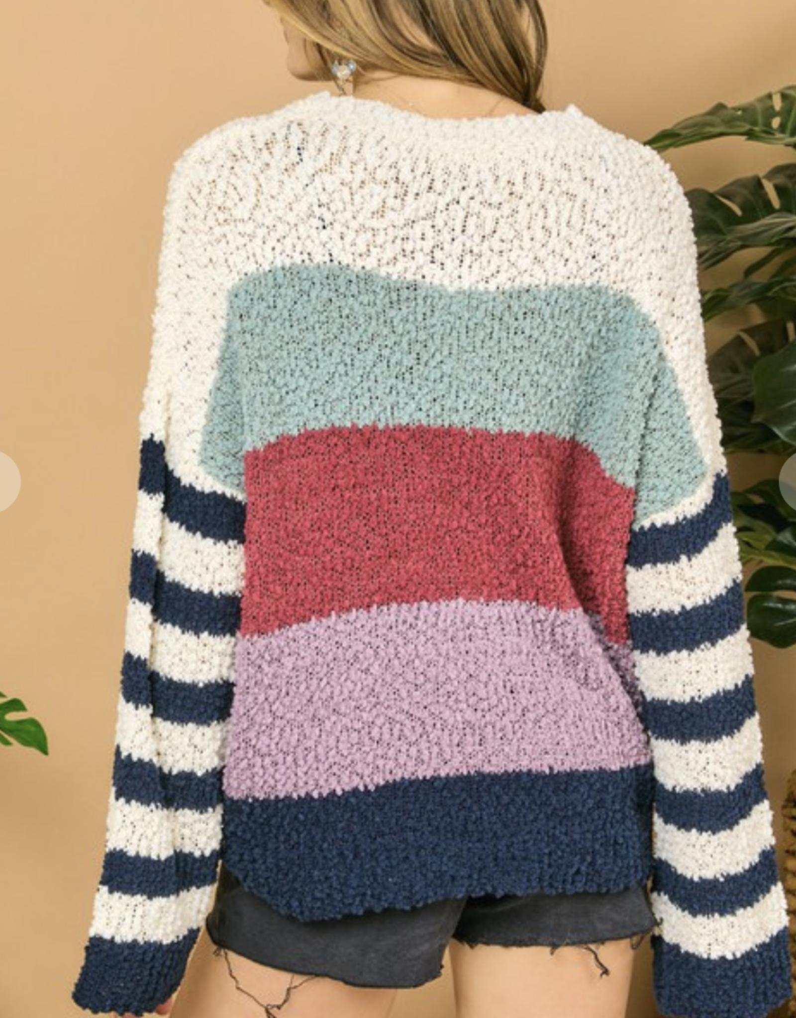 Colorblock & Stripe Knit Sweater
