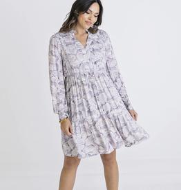 Karlie Abstract V Neck Tier Dress