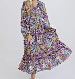 Karlie Floral Tier Button Maxi Dress