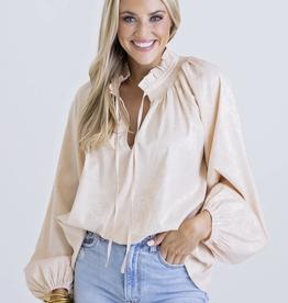 Karlie Solid Satin Long Sleeve Top