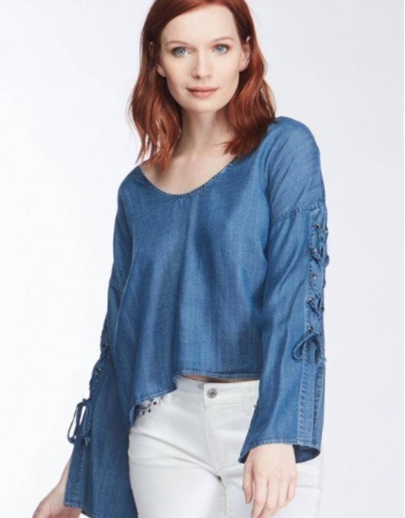 Velvet Heart Long Sleeve Lace Up Sleeve Shirt