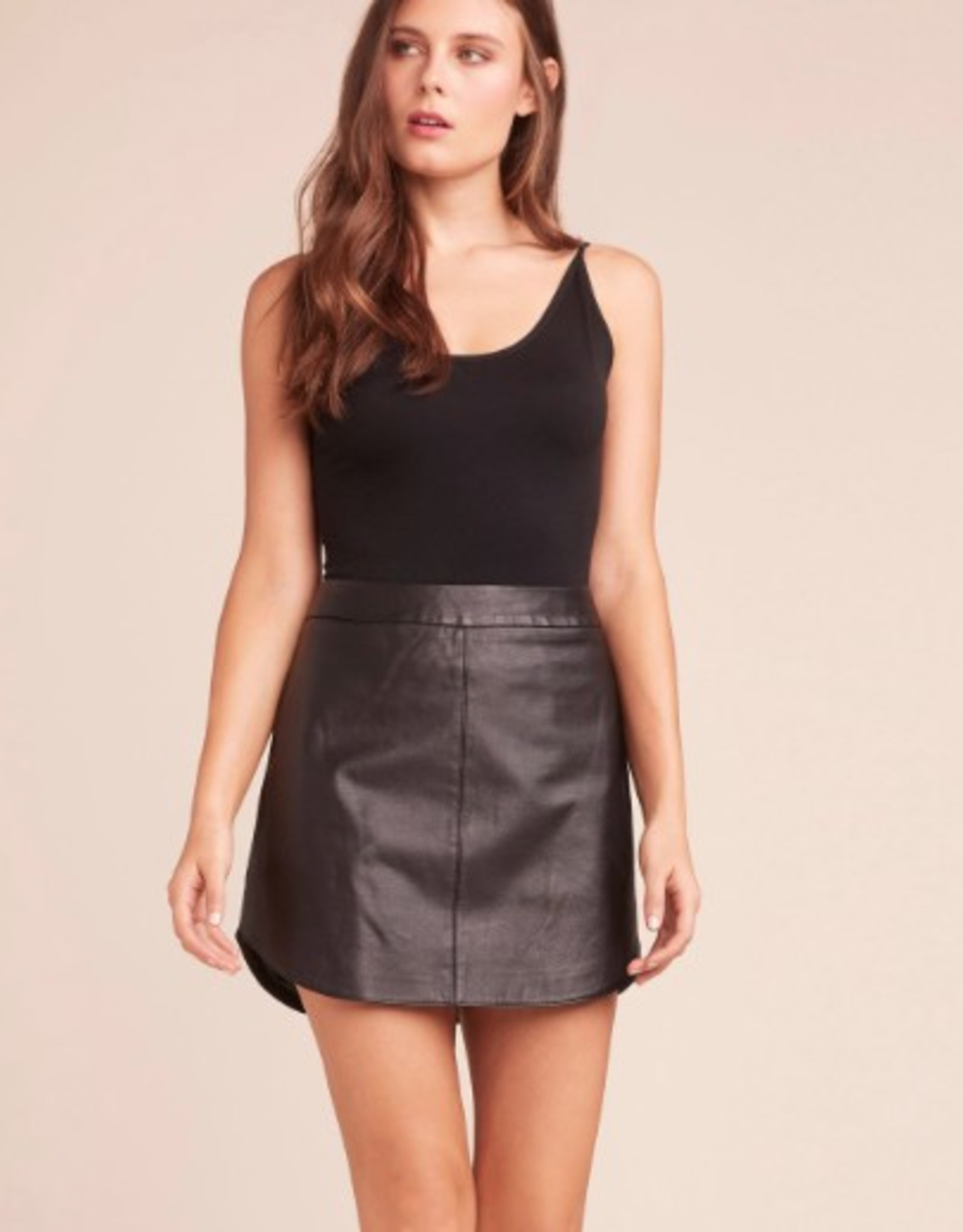 BB Dakota Conrad Leather Scoop Bottom Skirt