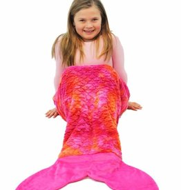 LimeApple Minky Mermaid Sleeping Bag - Pink Orange Tie Dye