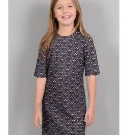 Mini Molly Mini Molly - Woven Dress w Burgandy/Orange Pattern