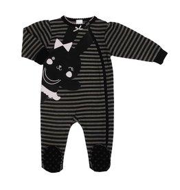 Kushies Kushies - Grey/Black Striped Sleeper w Bunny