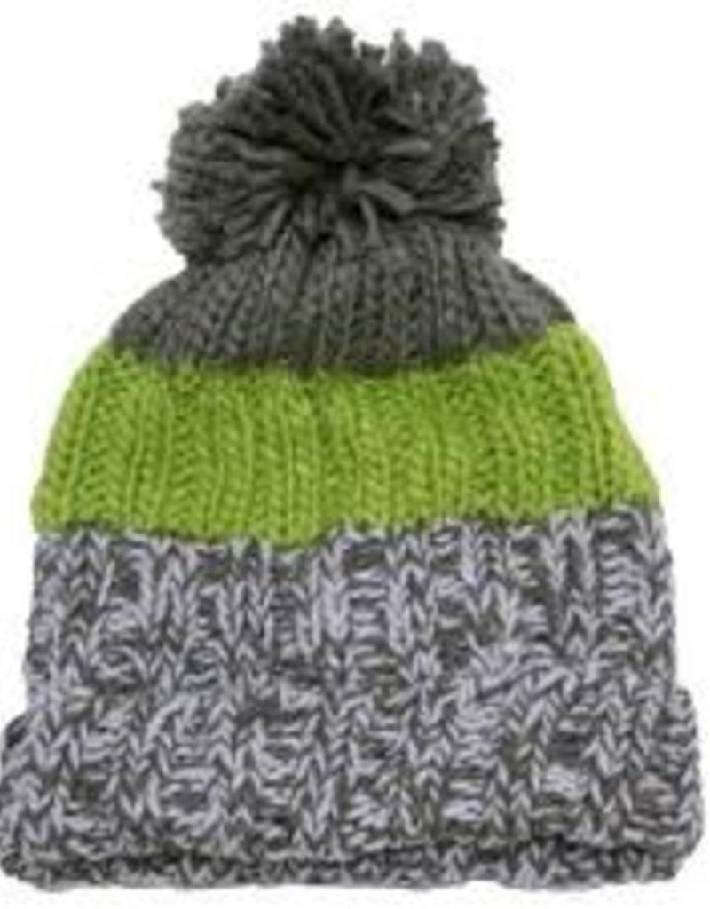 3eb8d916046 Calikids Calikids - Knit Winter Hat - Grey Lime Stripe w Pom - 3-5yr ...