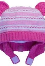 Calikids Calikids - Knit Hat w Ears & Velcro - Pink Mix