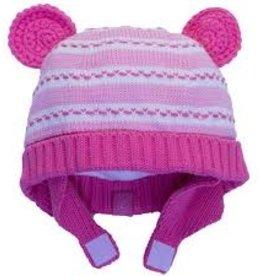 Calikids Calikids - Knit Hat w Ears & Velcro - Pink Mix