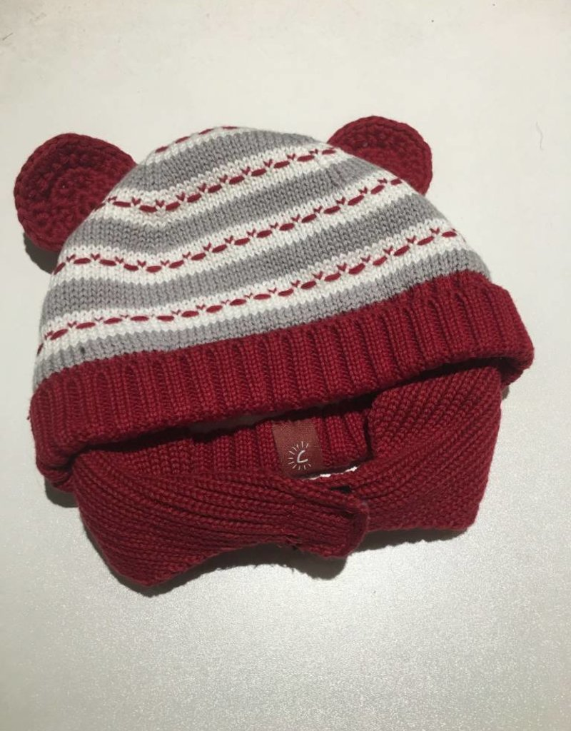 Calikids Calikids - Knit Hat w Ears & Velcro - Red/Grey Mix