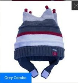 Calikids Calikids - Knit Hat Velcro - Grey Stripe