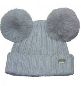 Calikids Calikids - Cashmere Knit Winter Hat - Grey w Pom Ears - 9-24m